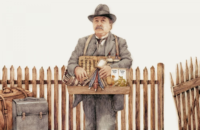 Frank Leder, Tradition, Hausierer, Rasierbalsam